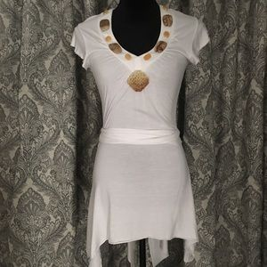 Tunic style wrap top with natural stone neckline